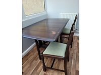 Vintage Drop Leaf Dining Table & 4 Chairs