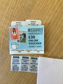 McDonald's monopoly win stickers, £30 off missguided /mennace, £10 off phone case, £5 off prezzy box