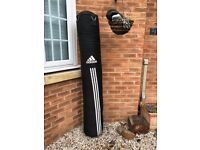 6ft Adidas heavy punch bag and boxing gloves