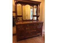 Large antique mirrored sideboard / dresser