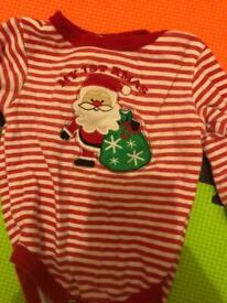 Christmas baby vest x2,top x1,Bib,trouser 3.50£
