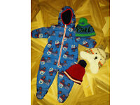 Next baby boy snowsuit 9-12 months and hats
