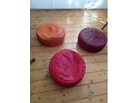 3x genuine Leather Moroccan pouffes