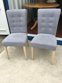 X2 Bentley designs slate blue fabric button back dining chair (New ex display)