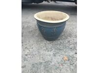 Large Blue Ceramic Pot