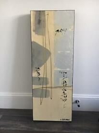 Japanese style silver and cream painting
