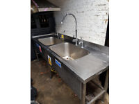 Commercial Sink Stainless Double Bowl Drainer Shelf with taps.in used