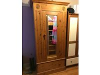 Solid pine wardrobe for sale, mirrored front with large storage drawer underneath