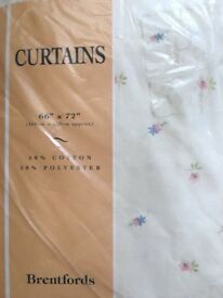"Cream floral curtains 66""x72"""