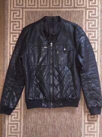 Calvin Klein Faux Leather Biker Bike Bomber Jacket Black Size M