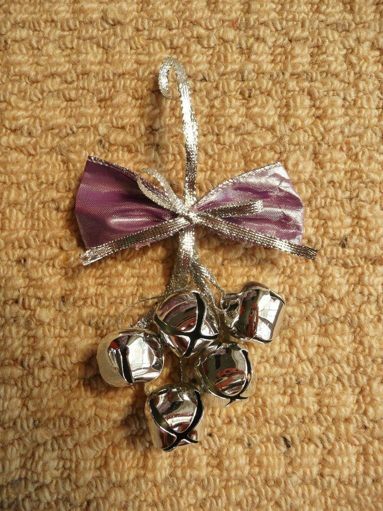 Silver Grey Bells Mauve Bow Christmas Tree Decoration Xmas Tree Ornament