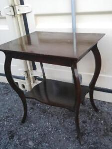 "OAKVILLE Antique Hall Table SOLID WOOD Curvy Legs 26x20x30""h French Provincial Parlor parlour dark brown shiny furniture"