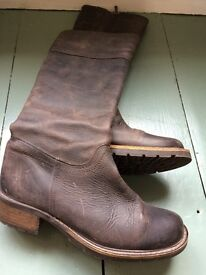 DUO BROWN LEATHER NUBUCK NARROW CALF BOOTS