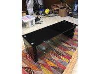 Black and Clear Glass Sony TV Stand