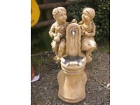 VINTAGE ORNATE STONE GARDEN WATER FEATURE. TAP AT FRONT. DISMANTLES IN 2. VIEWING/DELIVERY POSS