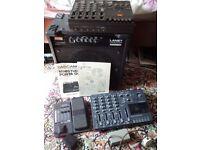 Tascam potastudio 414, porta 1, Yamaha GW10 digital effects pedal, Laney Linebacker bass amp