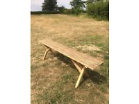 Garden bench. Upcycled and reused wood. Handmade. Rustic. Smooth finish.