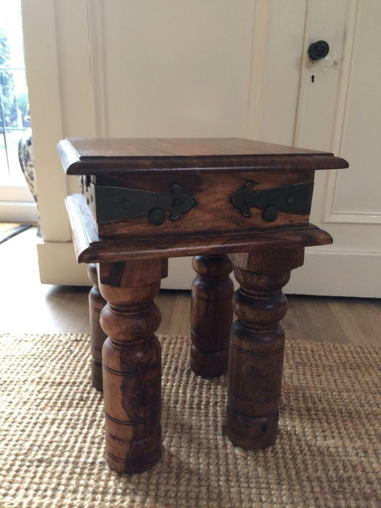 Wooden Step Stool Bedside: Lovely Solid Chunky Sheesham Wood Side Lamp Bedside Table