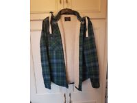 Burton Green Checkered Fleece Jacket - Size Small with Removable Buttoned Hood