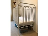 Almost New Vintage White Metal Cot with Mattress, 1x Mattress protector & 2x Fitted sheets