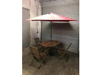 FREE DELIVERY WOODEN FOLDABLE GARDEN TABLE WITH 3 CHAIRS & UMBRELLA GOOD CONDITION