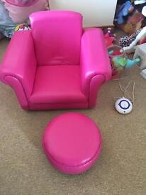 Girls armchair and footstool