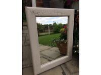 Shabby chic wide wooden frame mirror with crackle glaze finish