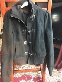 Miss selfridge black coat size 10