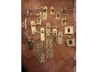 SOLID! Georgian brass door handles & accessories - 6 Pairs