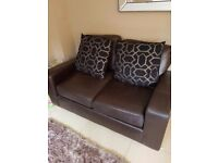 NEXT leather brown sofa