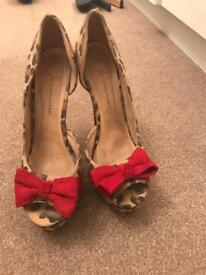 Primark leopard print and bow heels. Size 8