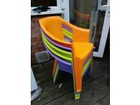 5 x Plastic garden chairs