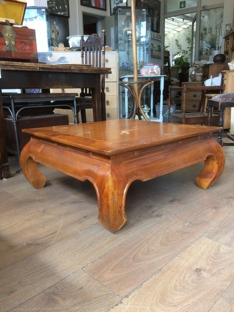 Coffee Table With Curved Legs Unusual Low Square Indonesian Hardwood