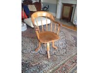 Antique Pine swivel desk chair