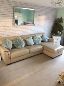 Leather, right hand corner sofa