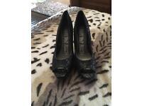 Ladies size 8 black open toes heels