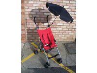 Tesco folding red pushchair with umbrella (VGC, stroller)