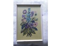 Vintage retro embroidered picture wall art