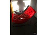 Retro Style Contemporary Chrome Framed Red Rocking Chair