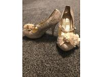 Irregular choice gold and cream cortisone shoes size 5