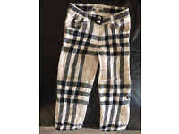 100% BURBERRY Boys Trousers-1-3years Checked Original Adjustable Legs Was 72 £
