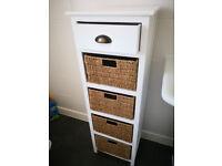 Bathroom storage cabinet with 4 wicker baskets