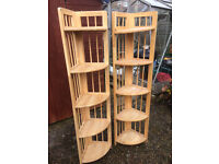 Two wooden corner stands