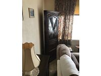 Large 6ft Dark Wood Corner Display Unit Excellent Overall Condition. Can Deliver