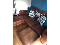Dfs chaise leather sofa and footstool