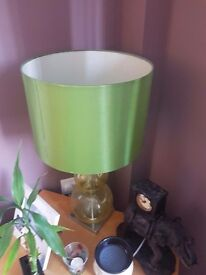 Green lamp, 2 vases and table bowl set