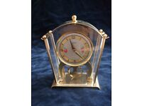 LOVELY VINTAGE BRASS & FLORAL HAND WIND 8 DAY CARRIAGE CLOCK MADE IN GERMANY BY SCHATZ & SOHNE