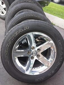 DODGE RAM FACTORY OEM CHROME CLAD 20 INCH ALLOY WHEEL WITH 275 / 60 / 20 GOODYEAR WRANGLER TIRES