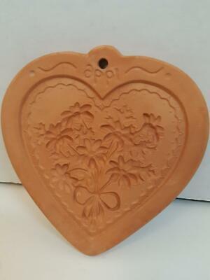 Cotton Press Terra Cotta Heart Shape Flower Casting Mold Paper Cookie Mold 1996