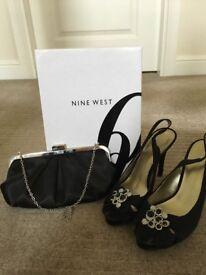Nine West satin evening sandals with satin bag (Next)